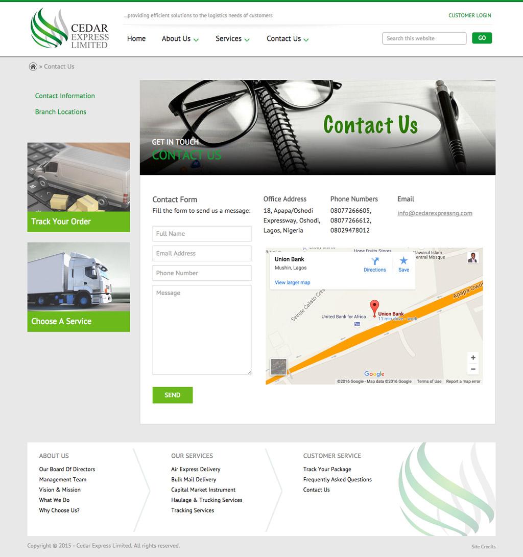 cedar-express-website-contact-page-design