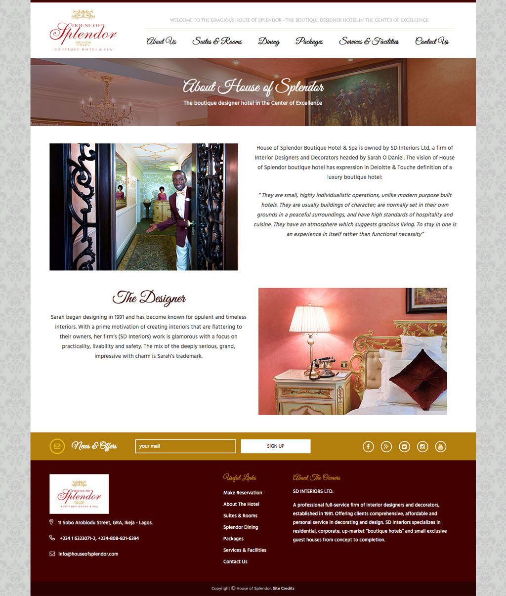 Website Design For A Boutique Hotel