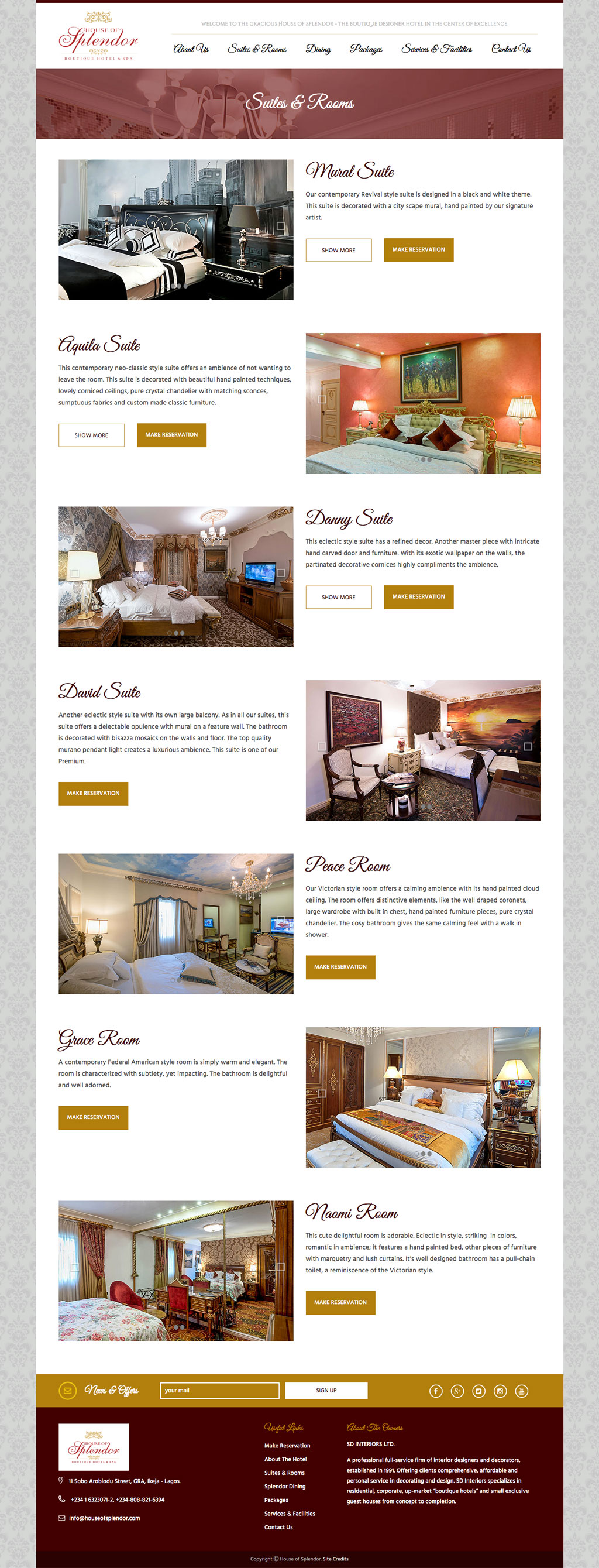 House of splendor website design for a boutique hotel for Hotel web design