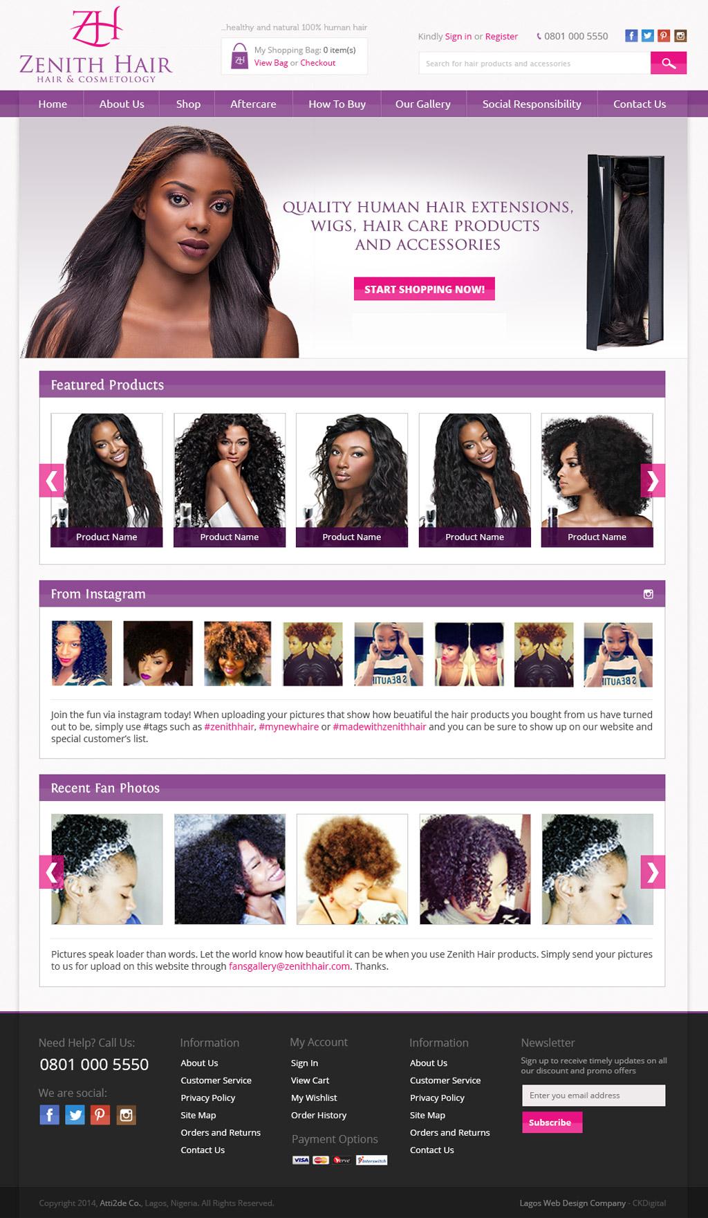 zenith-hair-website-homepage-development