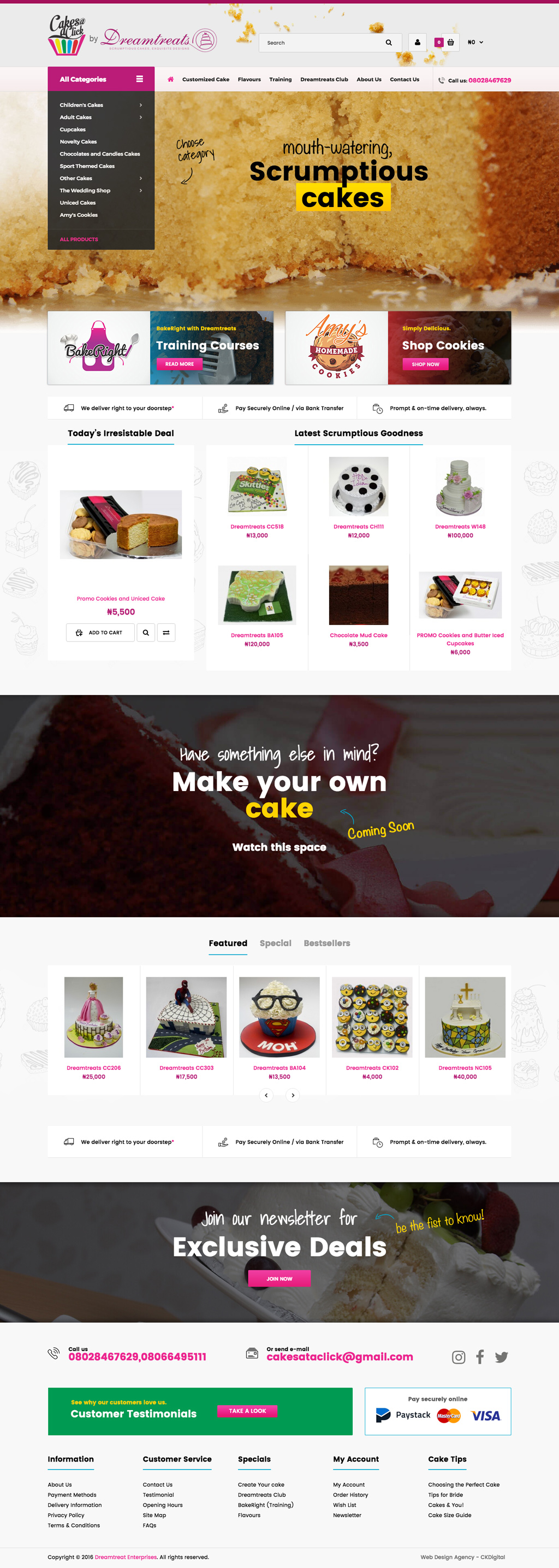 Dreamtreats Cakes Website Design - Home Page
