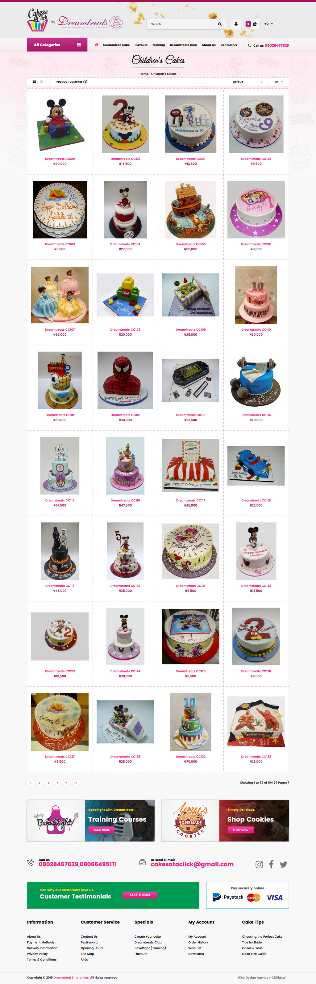 Dreamtreats Cakes Website Design - Category Page