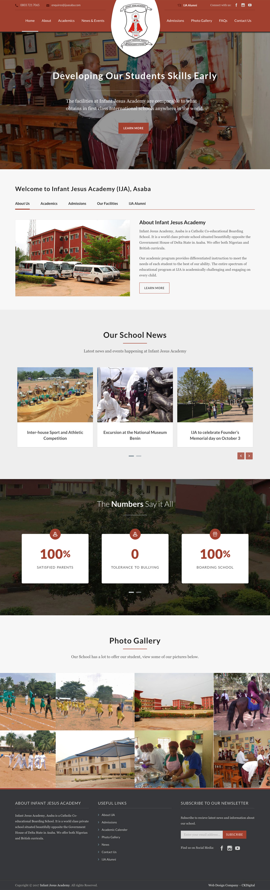 Website Design for Secondary School - Infant Jesus Academy