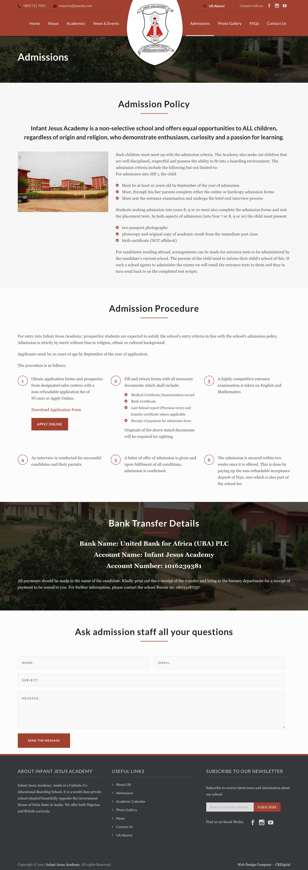 Admissions Page - Infant Jesus Academy Website Design