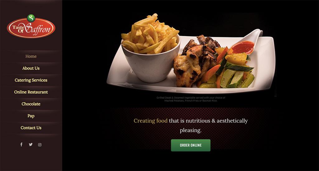 Taste of Saffron Website - Home Page Design