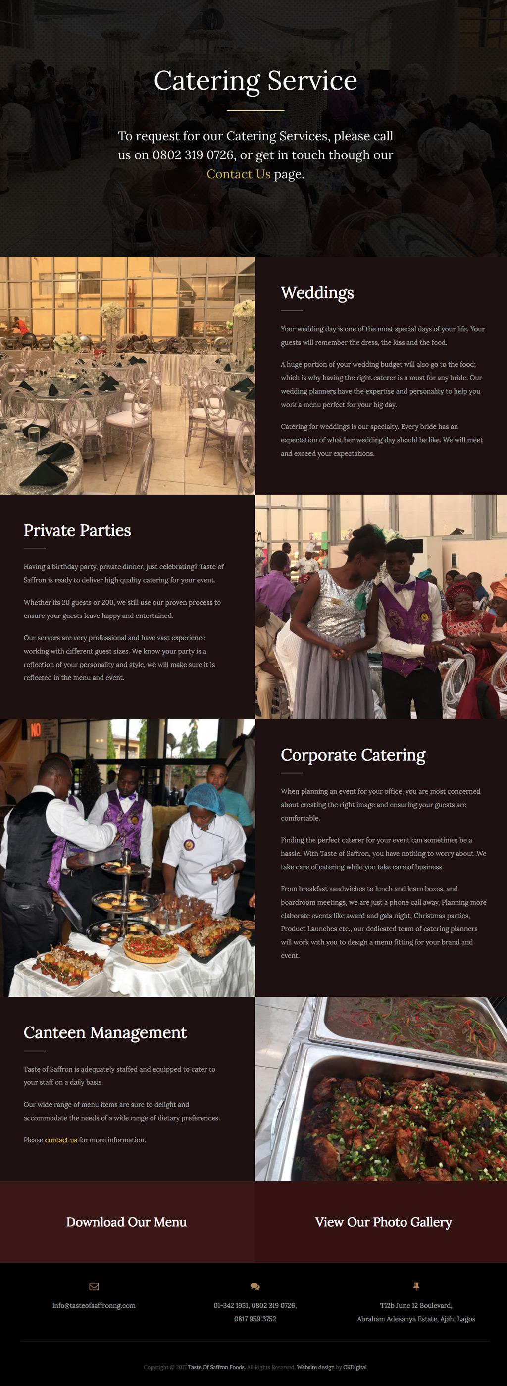 Taste of Saffron Website - Service Page Design