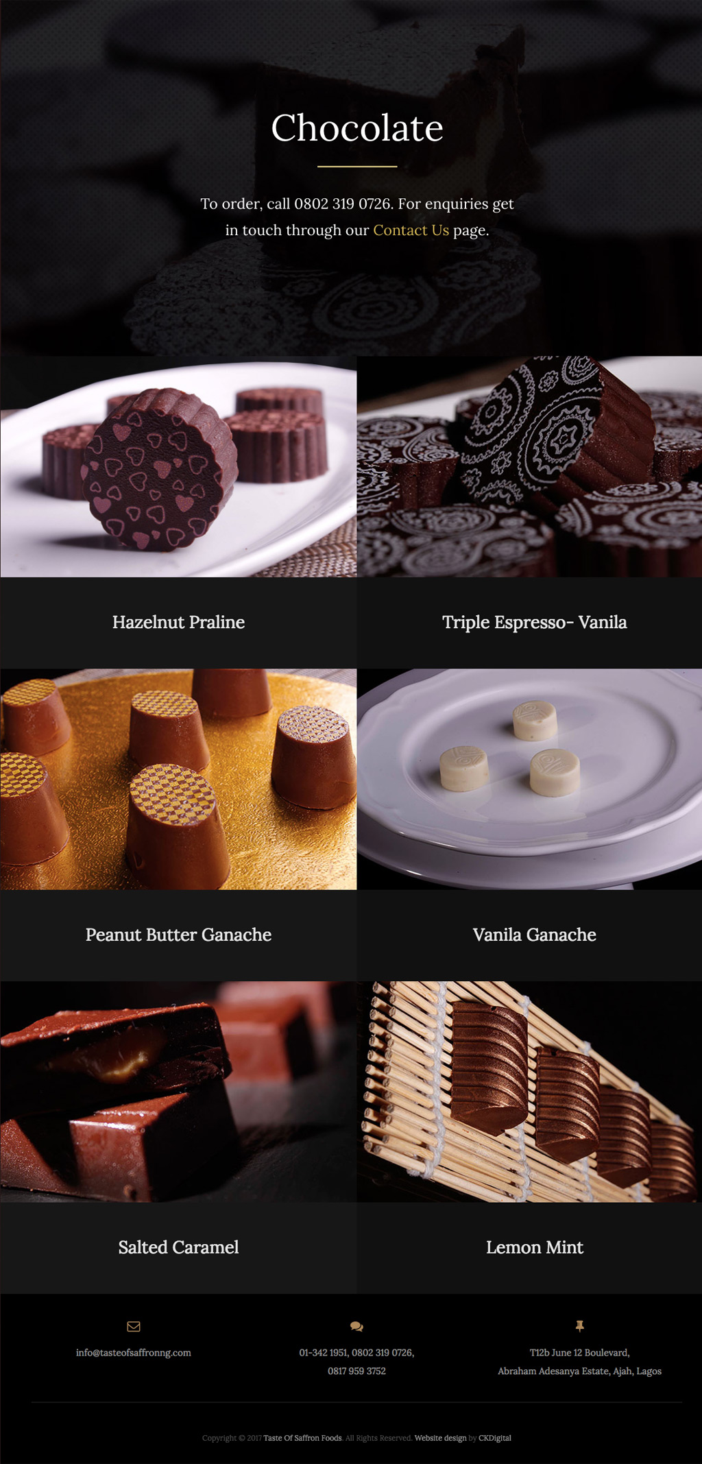 Taste of Saffron Website - Chocolate Page Design