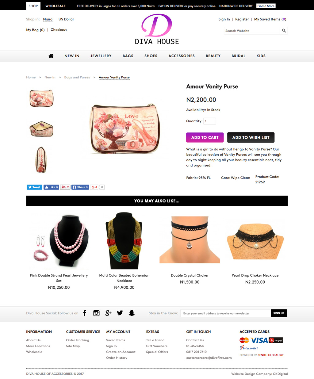 Diva House eCommerce Product Page