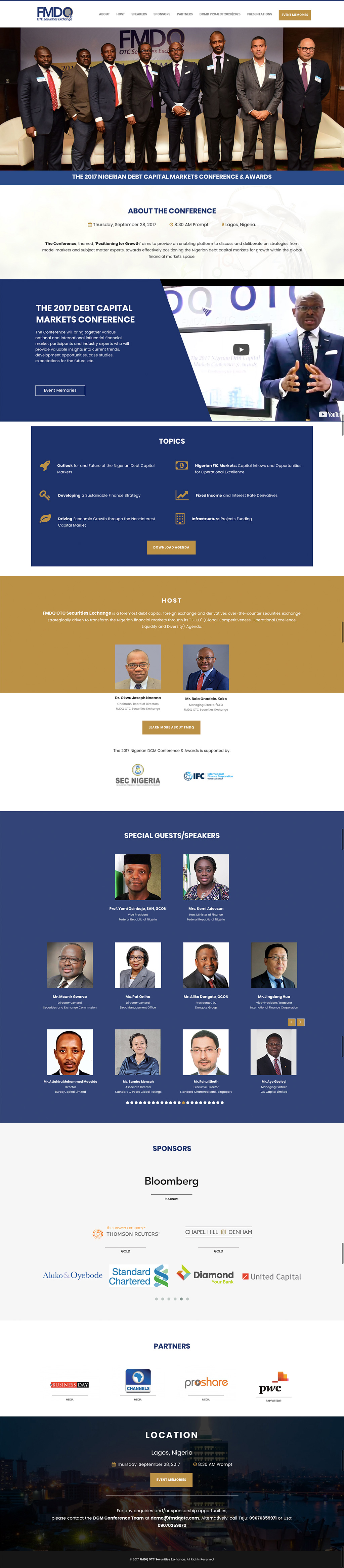 Website Design for FMDQ DCM Conference 2017